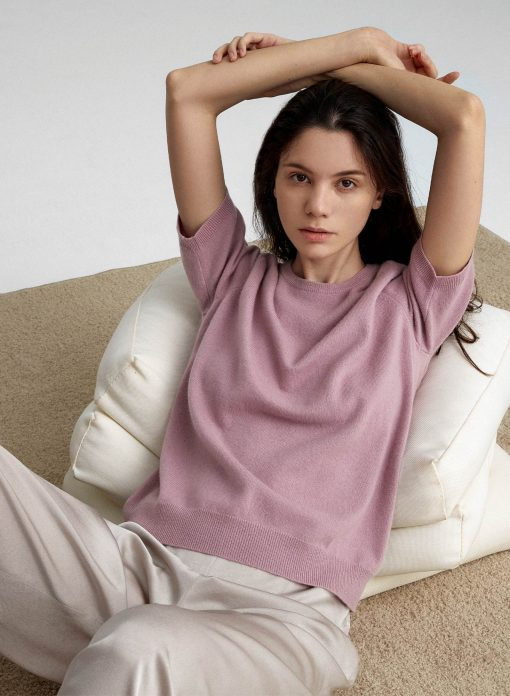 Short Sleeved Cashmere Sweater for Women