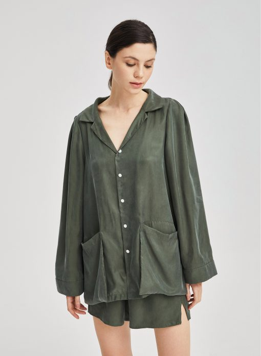 Relaxed Long Sleeved Pajama Top