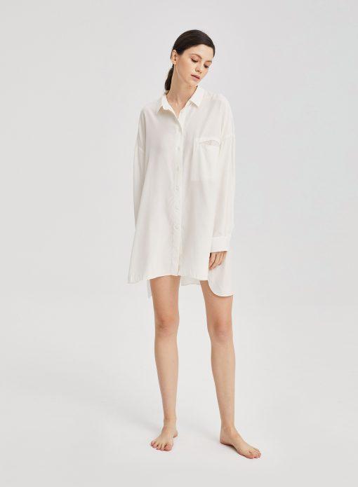 White Long Sleeve Oversized Dolphin Hem Shirt