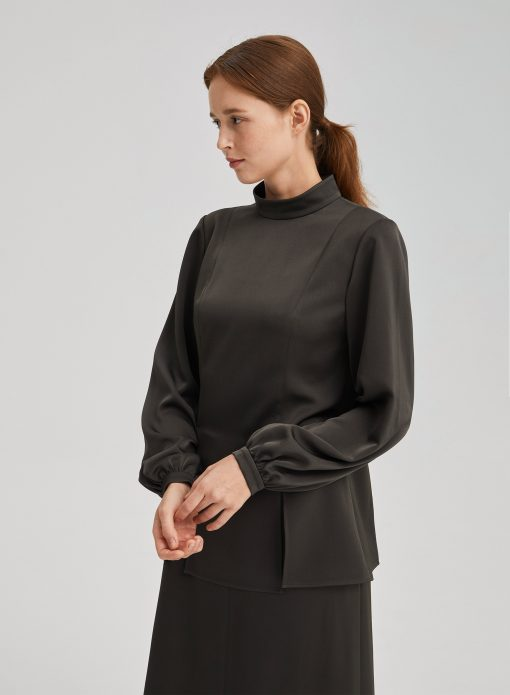 Stand Collar Long Sleeves Blouse
