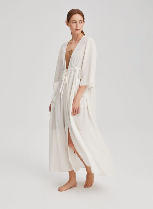 White Classic Kimono Drawstring Robe