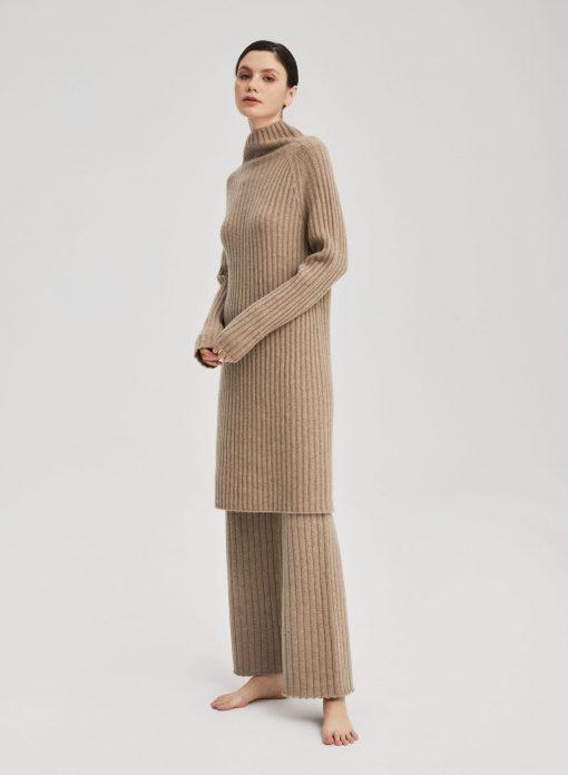 Cashmere Turtleneck Long Pullover Sweater Set