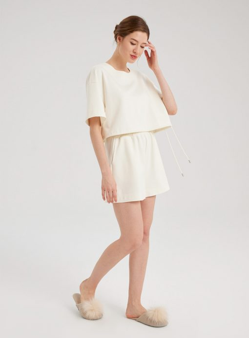 White Casual T-Shirt and Shorts Set
