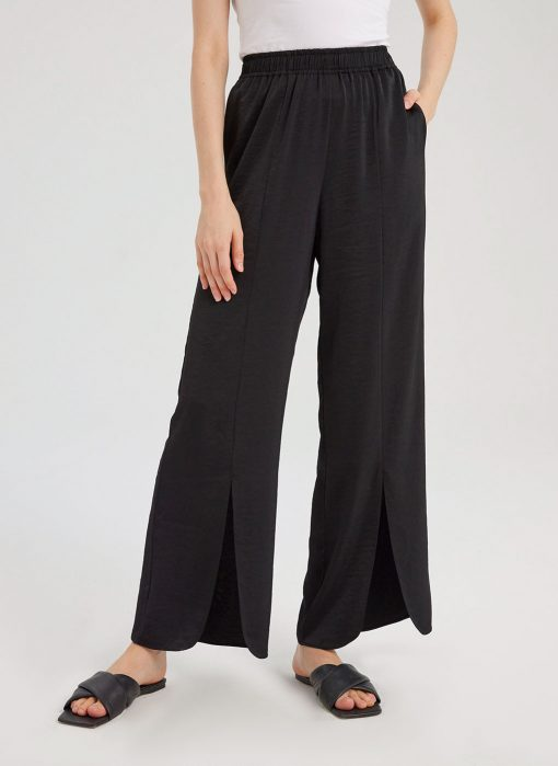 Wide-Leg Pants With Front Slits