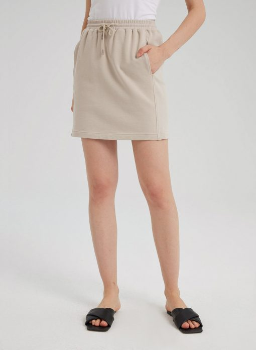 Cotton Drawstring Mini Length Skirt