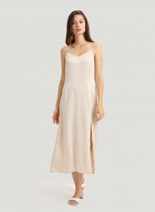 Midi Side Slit Slip Dress