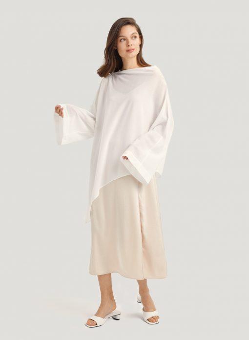 White Drop Shoulder Wrap Shirt