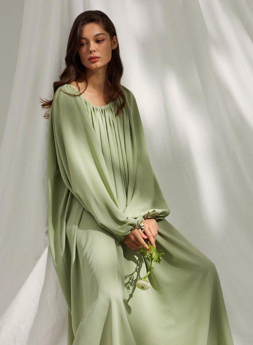 Ballon Sleeved Drawstring-neck Nightgown