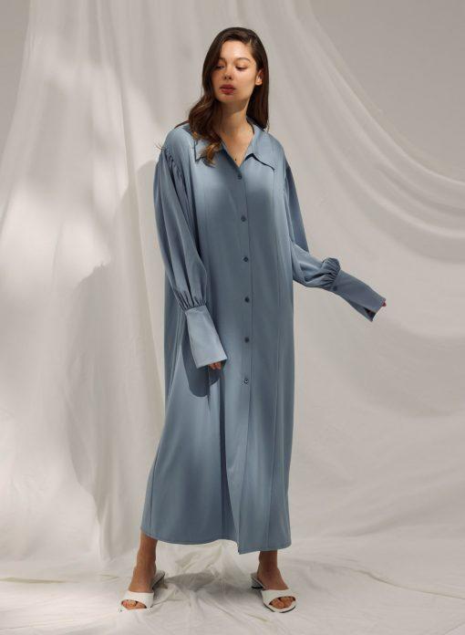 Maxi Button Front Shirt Dress