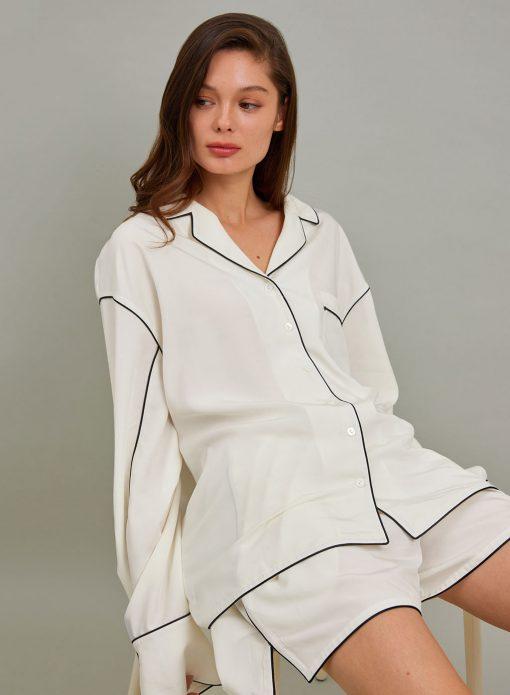 Button Up Long Sleeves Pajama Shirt