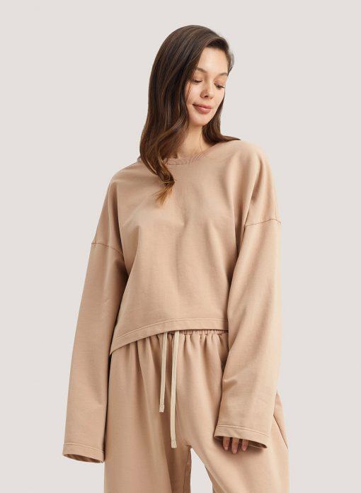 Cotton Crop Crewneck Sweatshirt