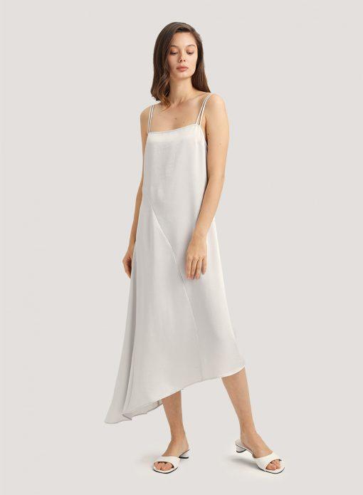 Irregular Hem Midi Strap Slip Dress