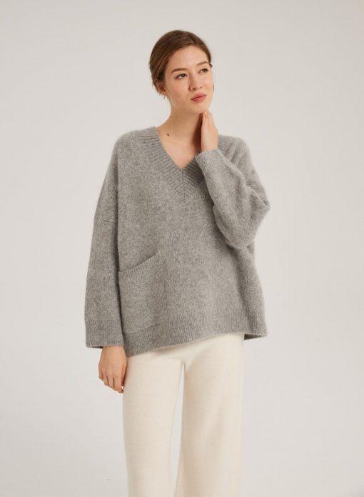 V-Neck Loose Pocket Sweater