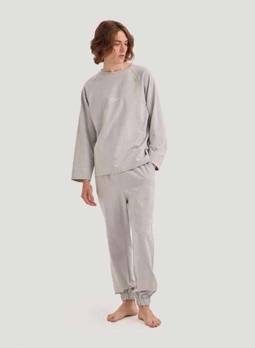 Men Long-Sleeve Crew-Neck Pajama Set