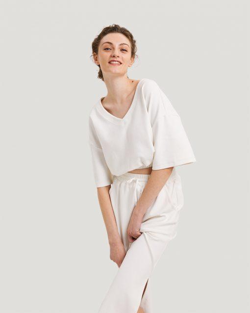 Cotton V-Neck Short Sleeve Crop Top