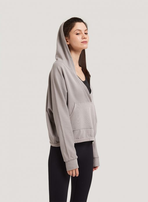 Cropped V-neck Hoodie
