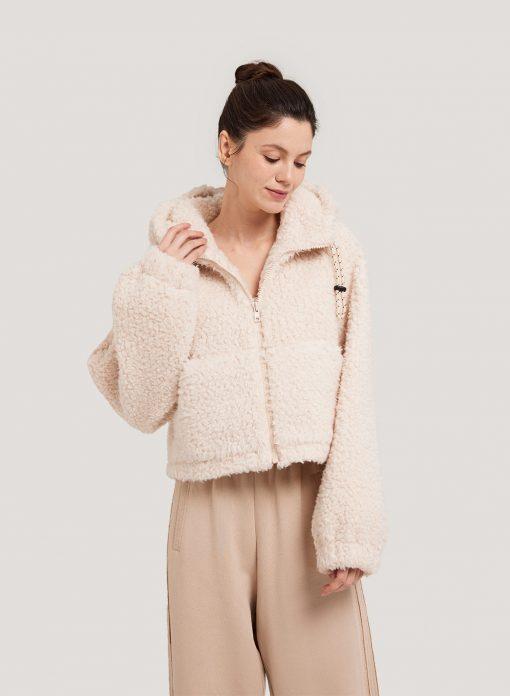 Crop Zipped Fuzzy Coat