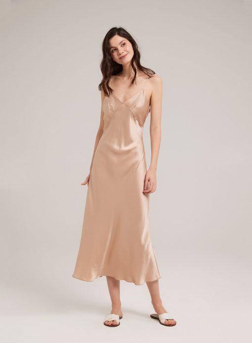 Deep V Neck Silk Midi Nightdress