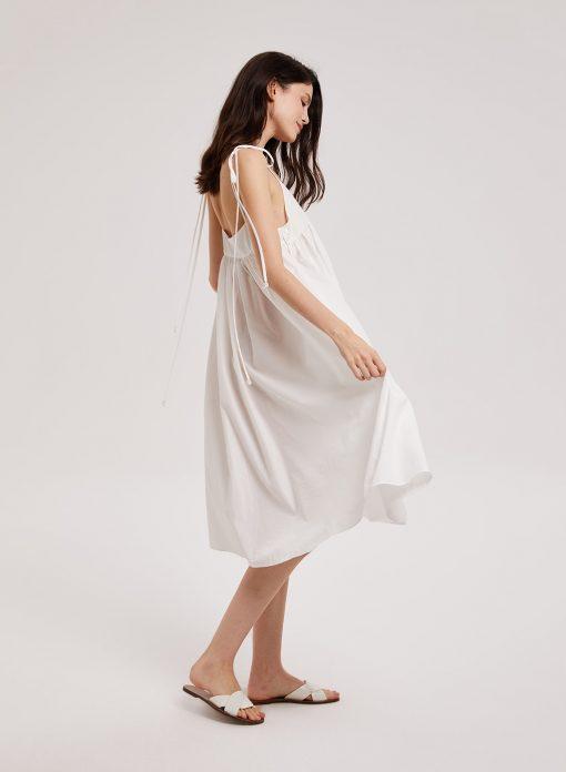 white shoulder tie dress