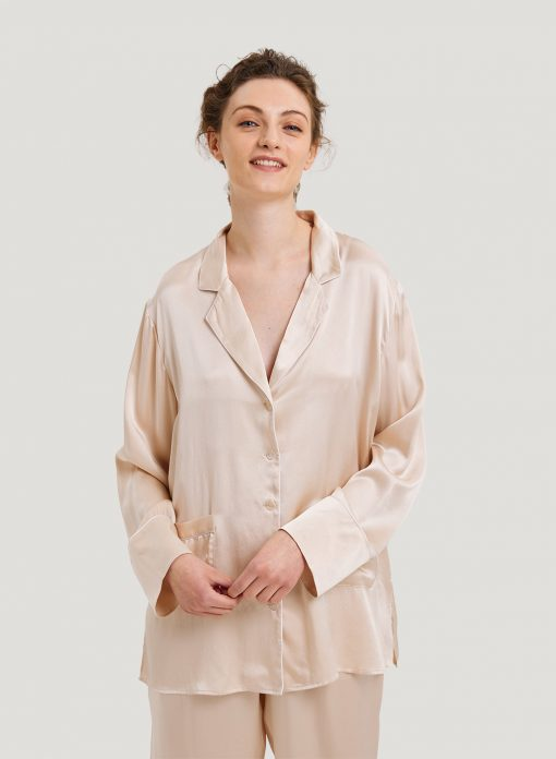 Washable 100% Silk-Satin Pajama Shirt