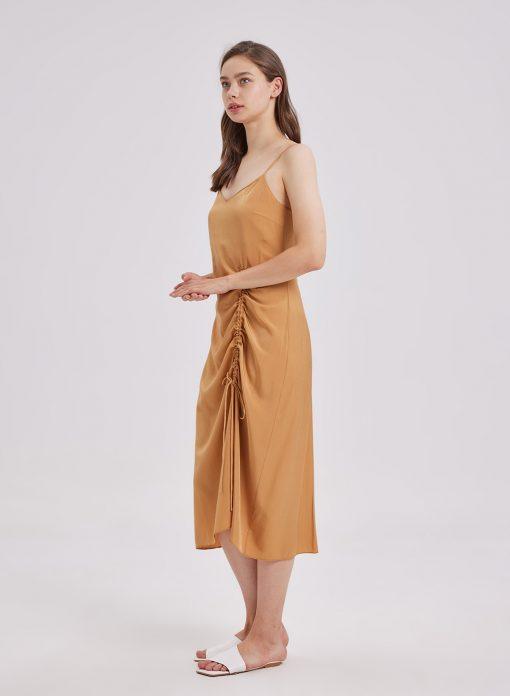 drawstring ruched dress