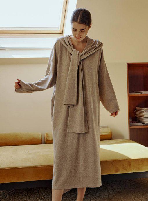 Hooded Scarf Sweatshirt Dress